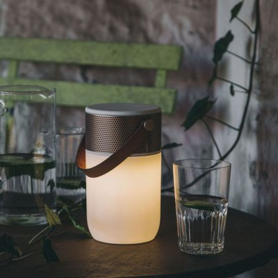 aGLOW Bluetooth Högtalare Vit/Guld, LED-Lampa